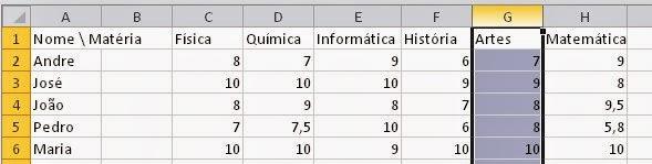 Como apagar uma coluna da planilha do Excel