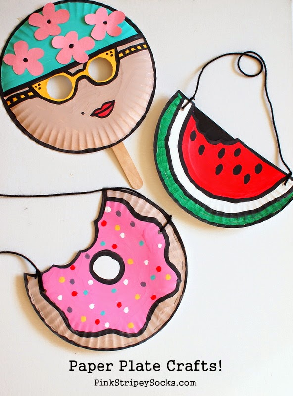 Easy Summer Paper Plate Kids Crafts Mask Watermelon Doughnut Purse