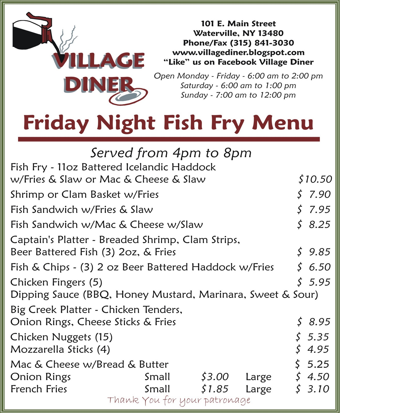 Mary ann friday night fish fry menu for Ted s fish fry menu