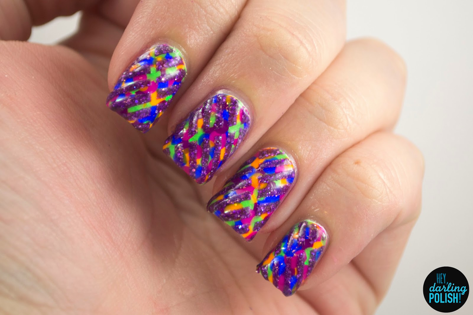 nails, nail art, nail polish, polish, neon, stripes, glitter, hey darling polish, naillinkup, tape