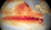 El Niño's heat in the Pacific Ocean. (Credit: NOAA) Click to Enlarge.