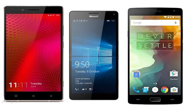 Gionee Elife E8 vs Microsoft Lumia 950 vs OnePlus 2