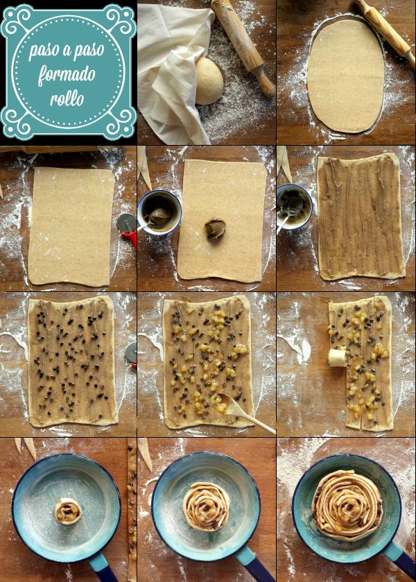 receta, paso a paso, brioche, castañas, peras, chocolate, rollo, semiintegral, otoño, pan dulce
