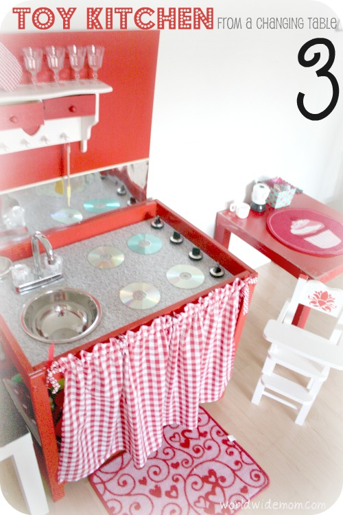 Home toy kitchen from a changing table for Toy kitchen table