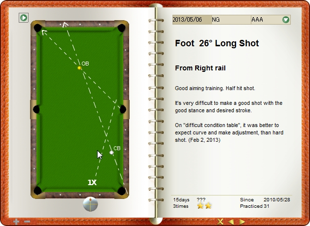 Tough foot shot from right side rail, billiard exercise diary, Billiard Practice Software