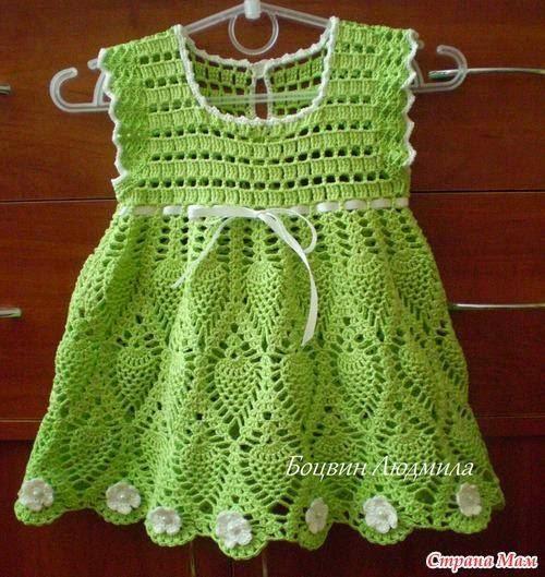 """Vestido croche para bebe com gráfico ~ """"Crochê da Mimi"""""""