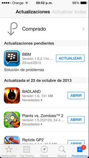 El lanzamiento de Apple iOS 7.0.3 ha dado problema a muchas aplicaciones, incluyendo BBM. El día de hoy, BlackBerry ha lanzado una actualización de BBM. Sin embargo, la aplicación sigue experimentando problemas que incluyen el cierre forzado de la aplicación cuando se hace el envío o recepción de unaimagen. BlackBerry ha actualizado BBM para iPhone a la versión 1.0.2.114, la cual trae los siguientes cambios: Categorías de Contactos Lista de clasificación y filtrado en los Grupos de BBM Mejoras en el rendimiento Corrección de errores BBM debería haber actualizado automáticamente si se ha configurado la App Store configurado para hacerlo.
