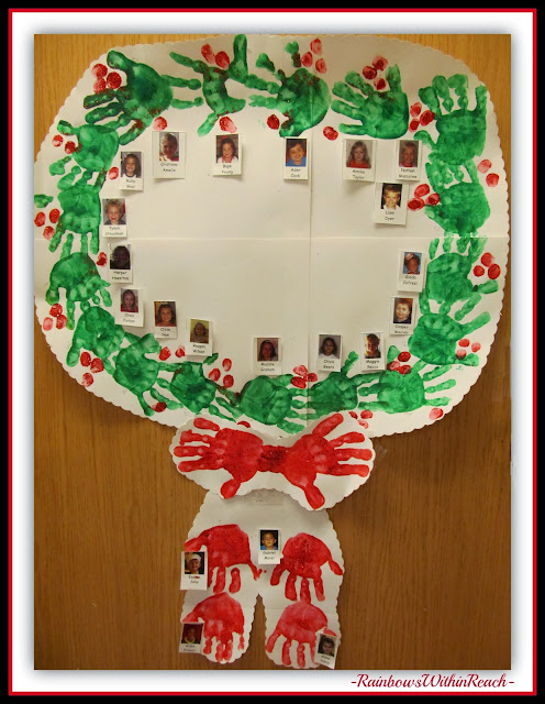 Painted Handprint Wreath Classroom Door Decoration for Christmas via RainbowsWithinReach