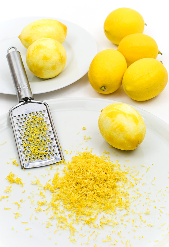 Lemon zest home grown lemons on table