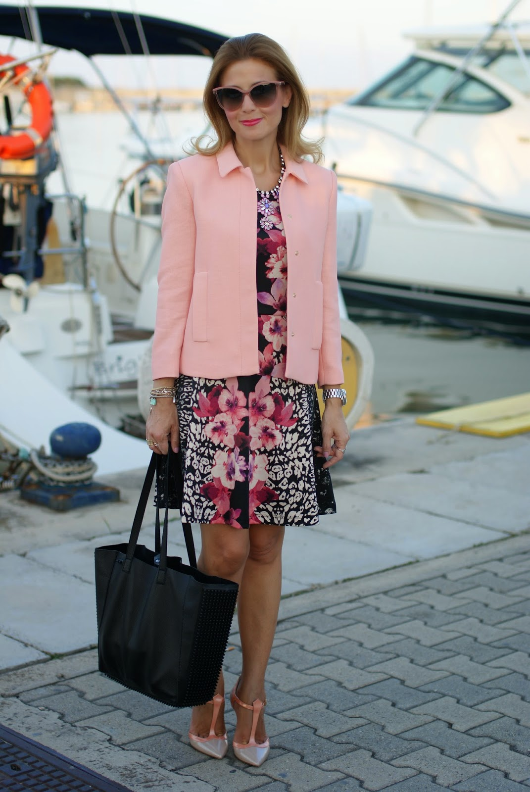 pink jacket, h&m tropical dress, sergio levantesi scarpe, low cost outfit, Fashion and Cookies, fashion blogger