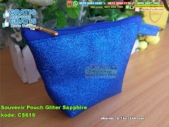 Souvenir Pouch Gliter Sapphire