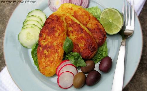 Turmeric & Saffron: Kookoo Sib Zamini - Persian Potato Patties