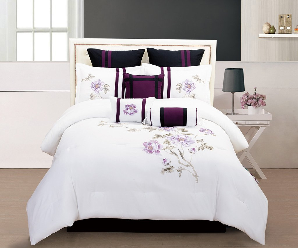 Total fab purple black and white bedding sets drama uplifted for Bed sets with mattress