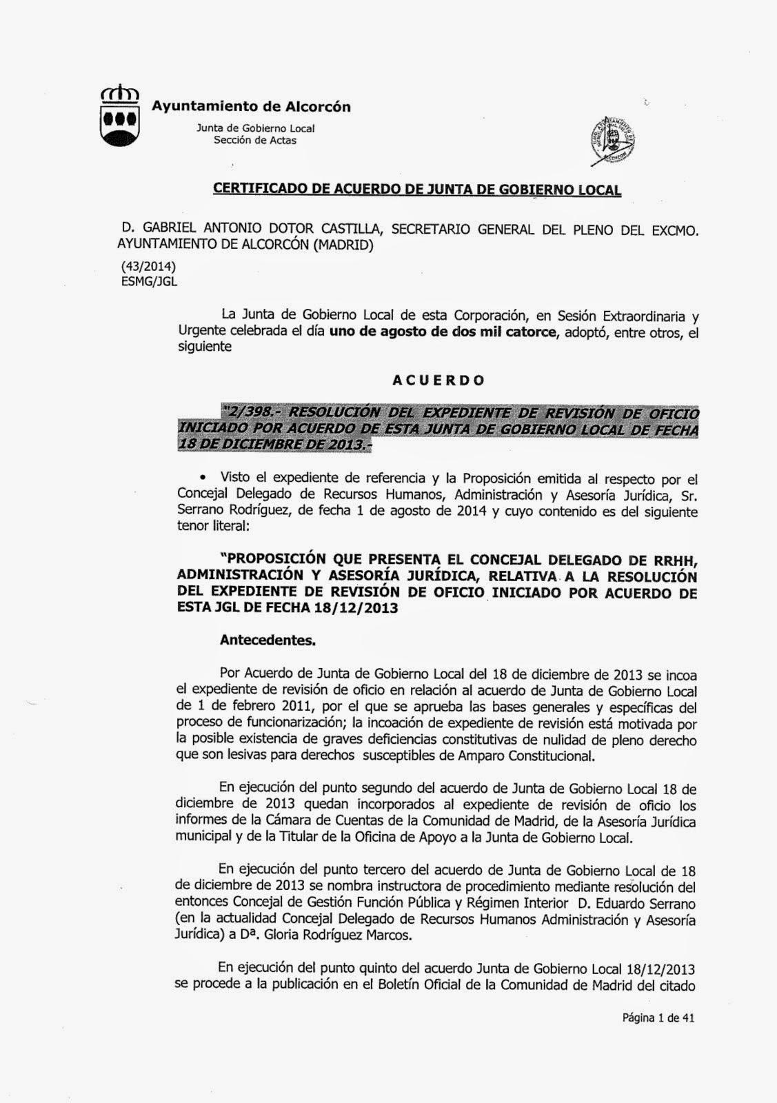 ACUERDO DE JGL DE 1 DE AGOSTO DE 2014 SOBRE LA REVISIÓN DE OFICIO DEL PROCESO DE FUNCIONARIZACIÓN