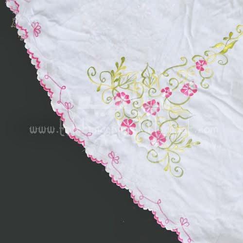 Telekung Vietnam bunga pink-putih / daun hijau-kuning sulam sisi