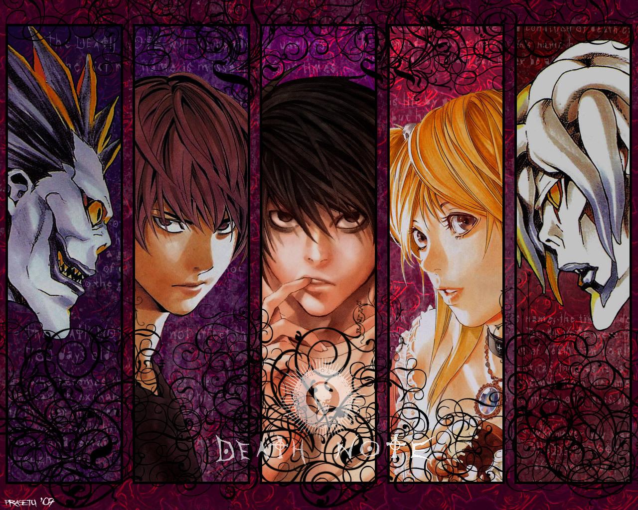 Od lewej: Ryūk, Light Yagami, L, Misa Amane, Rem: manga-and-anime-forever.blogspot.com/2013/05/death-note-anime.html
