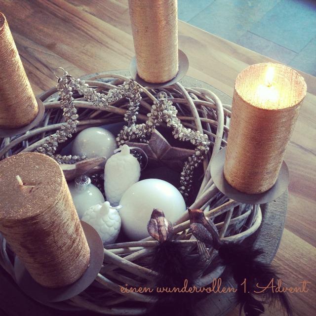 Natur Adventskranz Kupfer Holz Frühstück bei Emma 1. Advent