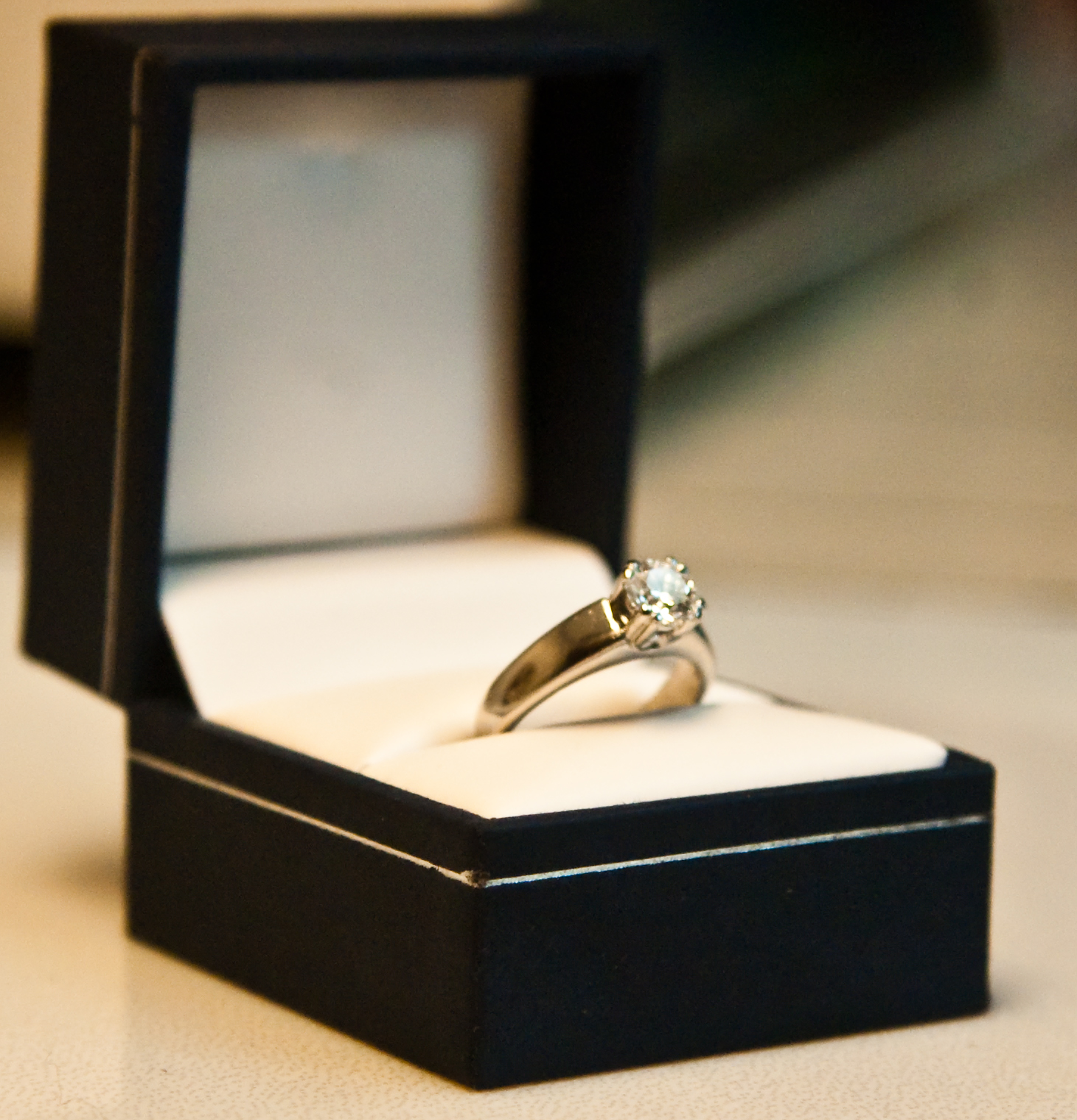 Simple engagement ring in box