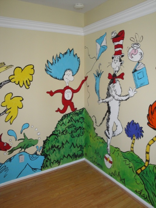 Fleachic flea market savvy nursery decor part 2 for Dr seuss wall mural