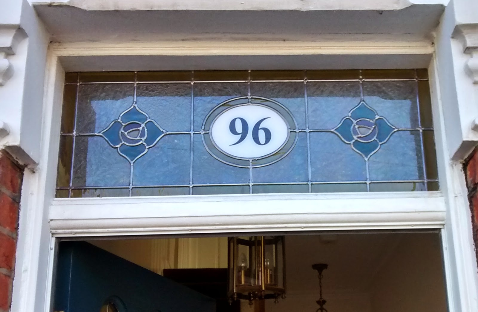 Stained glass with house number