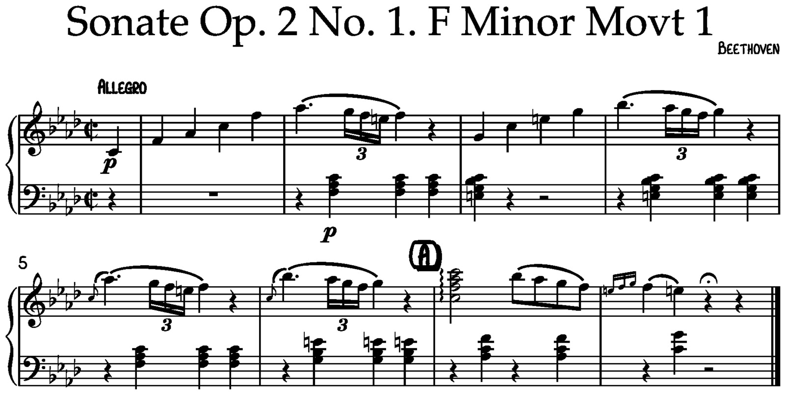 Beethoven sonate for piano op 2 no 1 fmin movt 1 bars 1 8 again this starts with a mannheim rocket starting on the 5 of the tonic chord which leads directly into motive 2 then this motive is sequenced up and in hexwebz Image collections