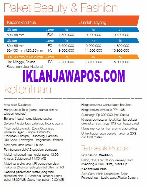 Jawa Pos Iklan Paket Beauty And Fashion 2014