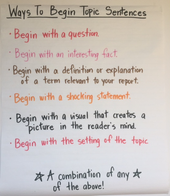 how to begin a topic sentence
