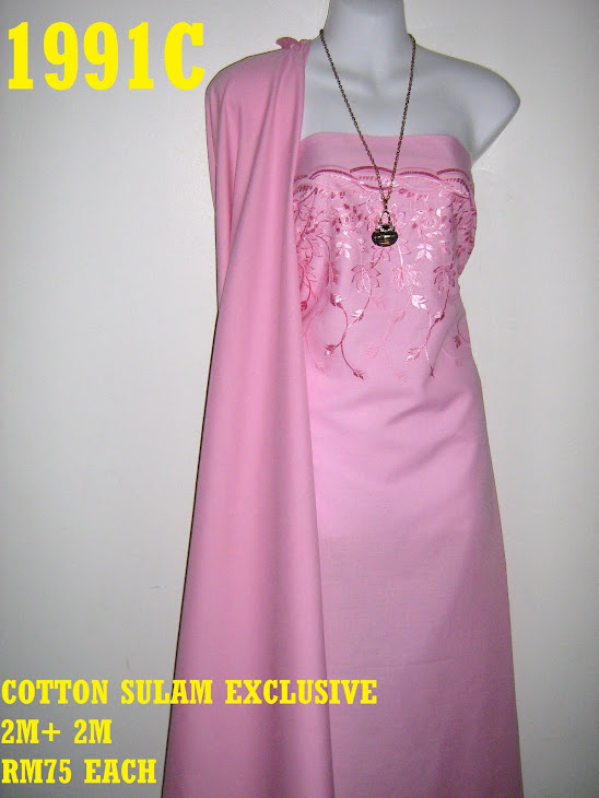 CS 1991C: COTTON SULAM MATCHING EXCLUSIVE, 2 M SULAM + 2 M PLAIN, SULAMAN YG AMAT KEMAS  DAN CANTIK