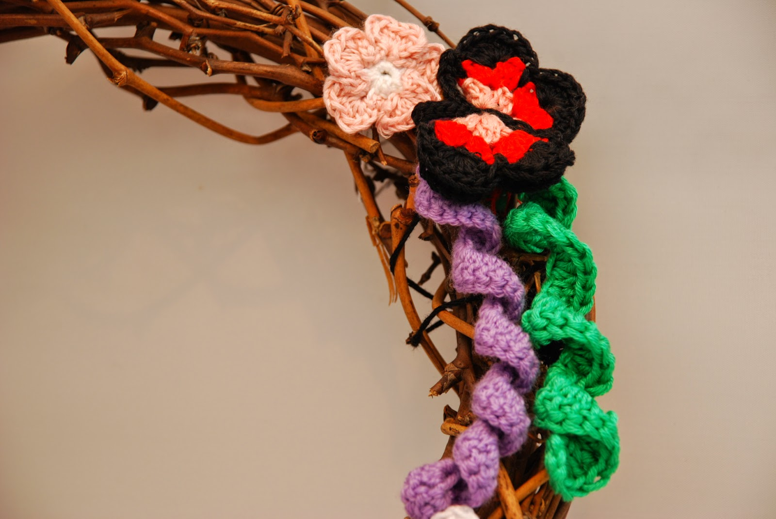image of crochet butterfly on crochet Spring wreath