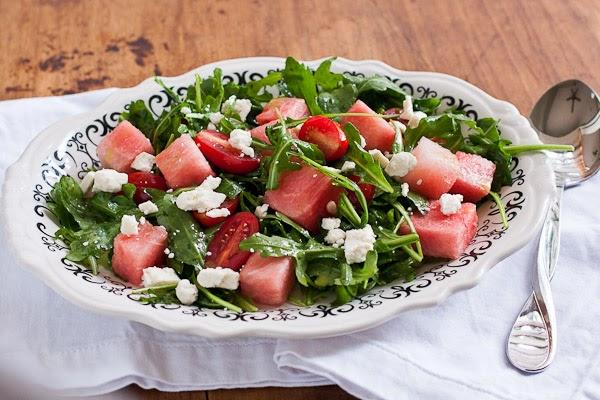 Watermelon and Arugula Salad with Basil Vinaigrette
