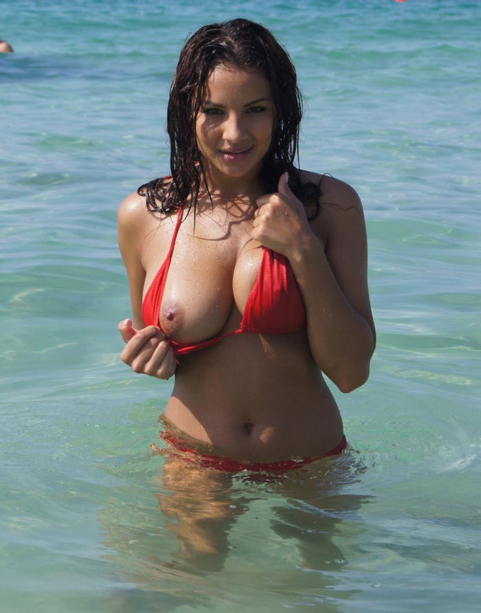 Lacey Banghard Topless Wearing Only A Tiny Red Bikini At The Beach