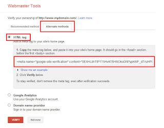 OpO ~ Cara untuk memverifikasi blog di google webmaster tools mrnggunakan metode html tag