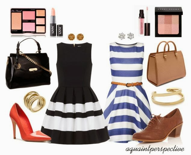Its raining stripes everywhere and I got inspired to put together looks for Office wear/Daywear.