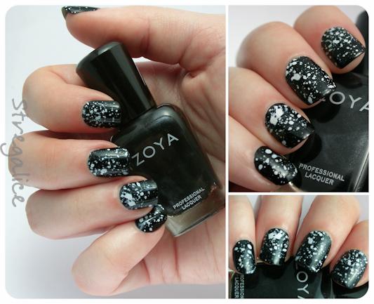 Zoya Raven black acrylic splatter