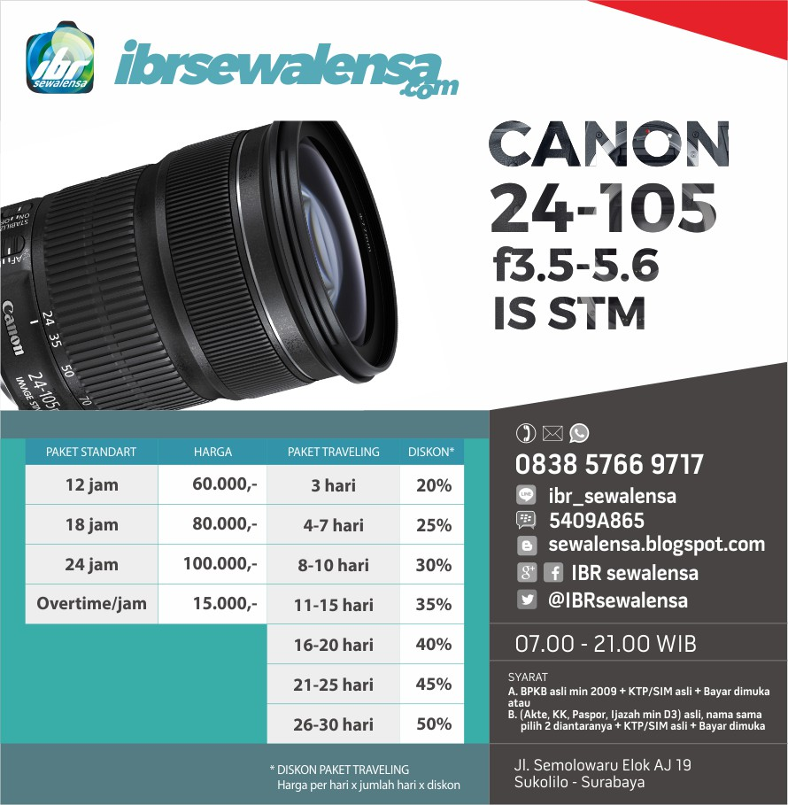 SEWA RENTAL LENSA CANON 24-105 f3.5-5.6 IS STM