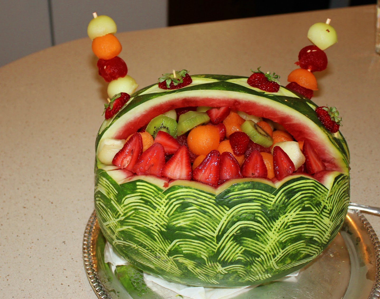 Fruit carving watermelon cake ideas and designs