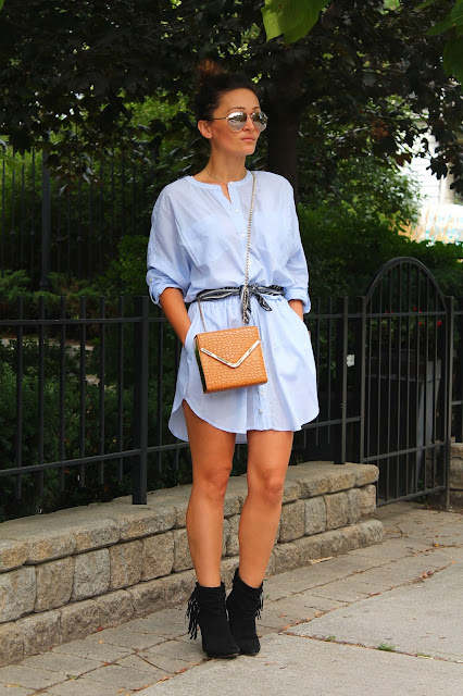 Shirt dress, fall outfit, how to wear a scarf. wedge boots, ankle boots, how to style shirt dress, just fab boots, banana republic shirt dress, ways to wear a scarf