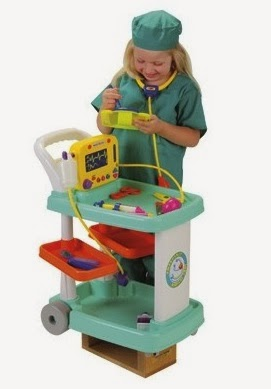 toy medical cart with scrubs