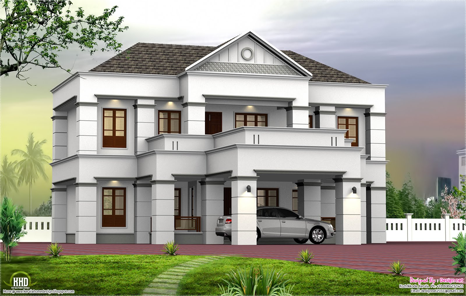 2900 new shingles slope roof with box design for New home plans kerala