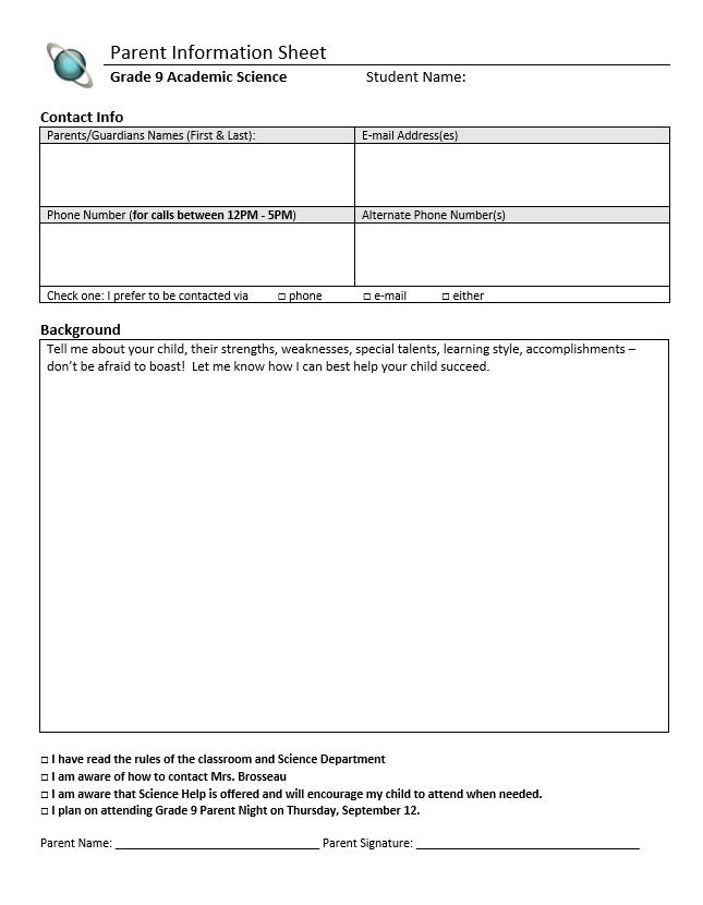http://www.teacherspayteachers.com/Product/Student-and-Parent-Information-Sheets-Editable-864344