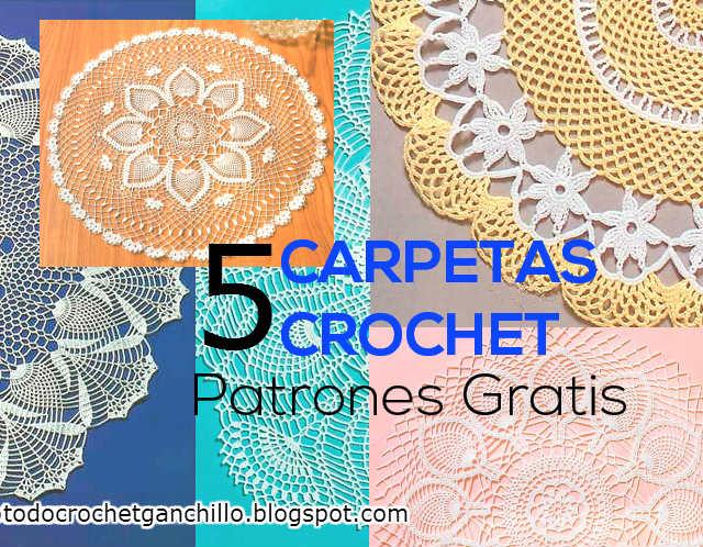 5 patrones de carpetas redondas tejidas a crochet | Todo crochet
