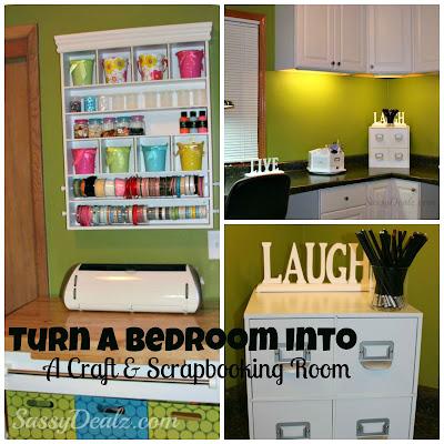 transforming a bedroom into a craft scrapbooking room
