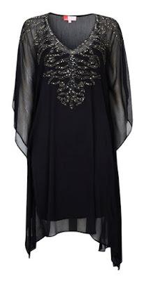 Wallis Black Embellished V Neck Kaftan