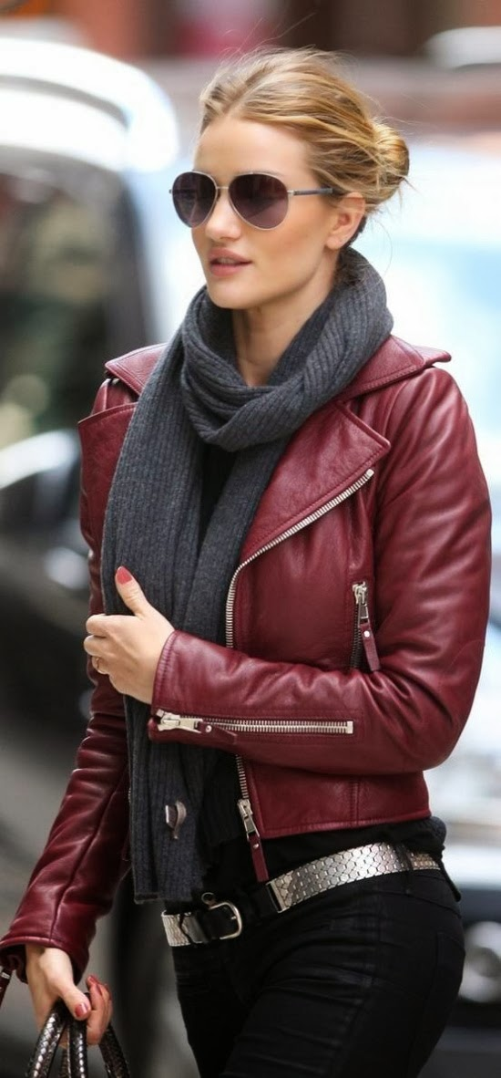 Amazing Burgundy Leather Jacket with Gray Scarf, Black Jeans and Accessories, Street Style, Love It