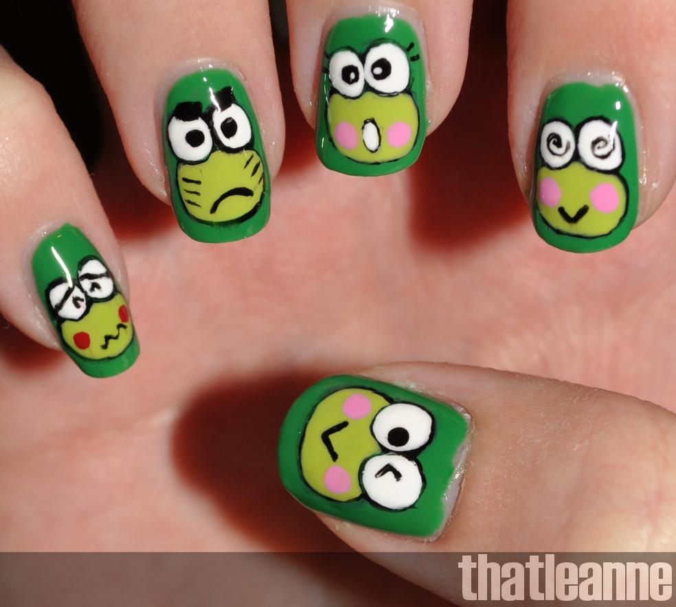Keroppi Nail Art | Easy Nail Art