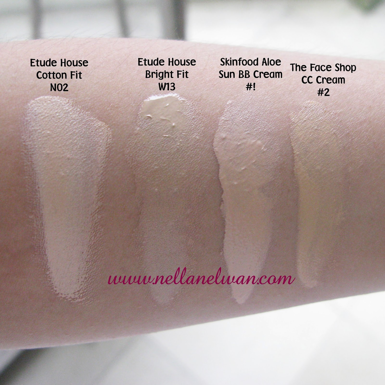 cc cream swatches korean products