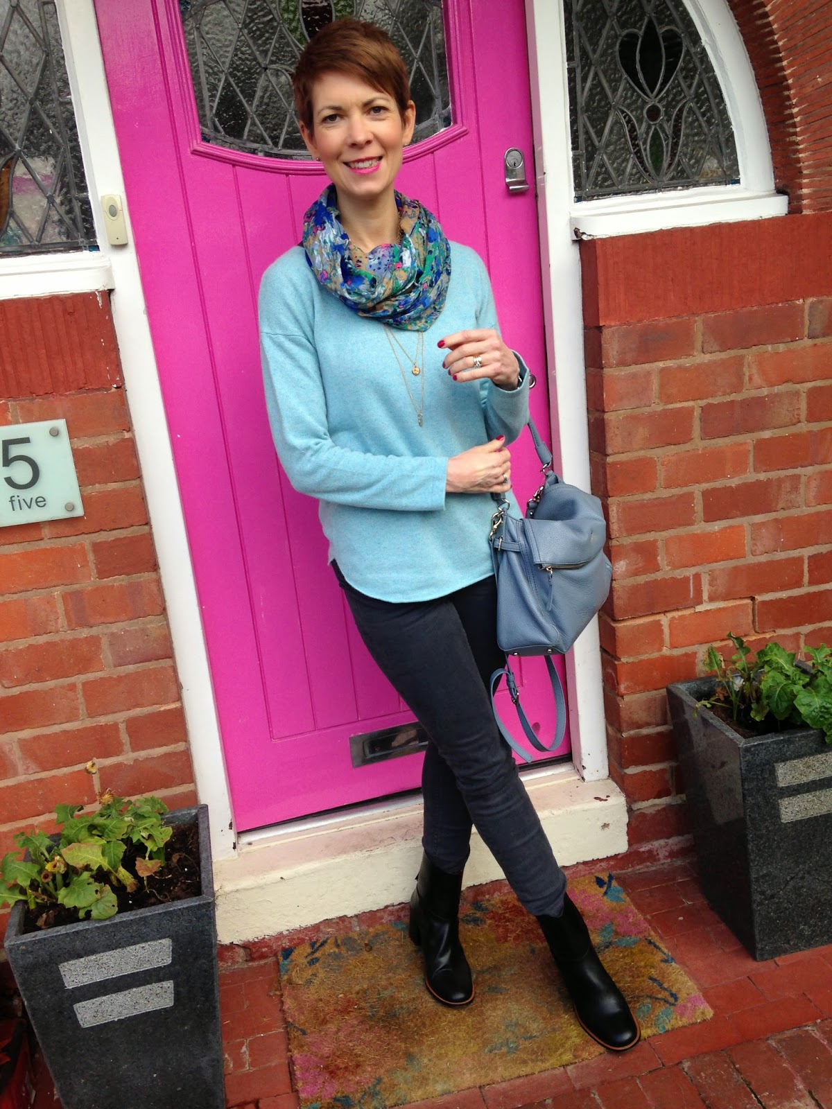 Something old (jeans), something new (boots), something borrowed (necklace) and something new and blue (jumper)…