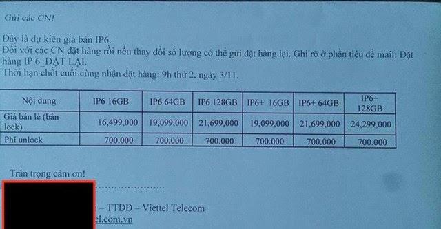 Rò rỉ giá bán IP6 của nhà mạng Viettel