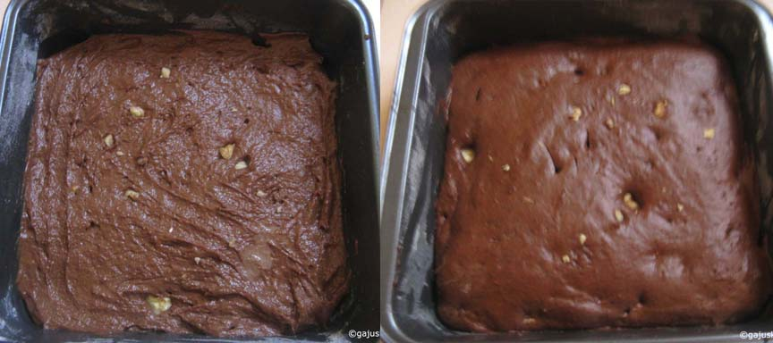 Brownies before and after baking