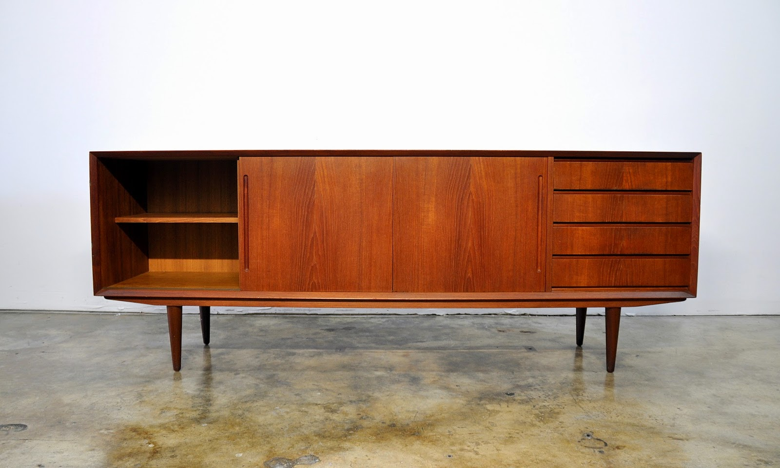Danish Teak Credenza : Select modern danish teak credenza buffet sideboard or bar